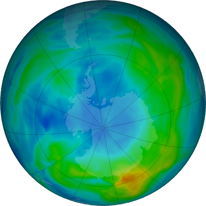 Antarctic ozone map for 01 May 2018