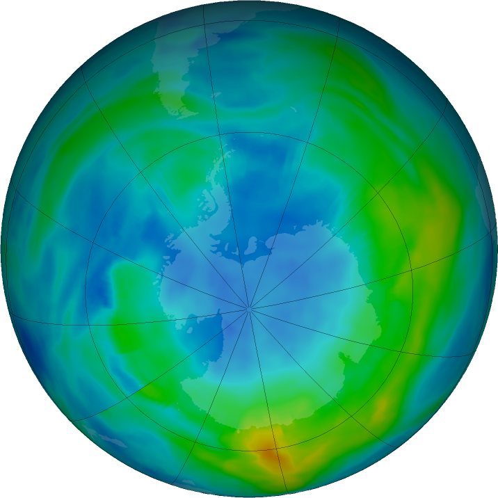Antarctic ozone map for 02 May 2018