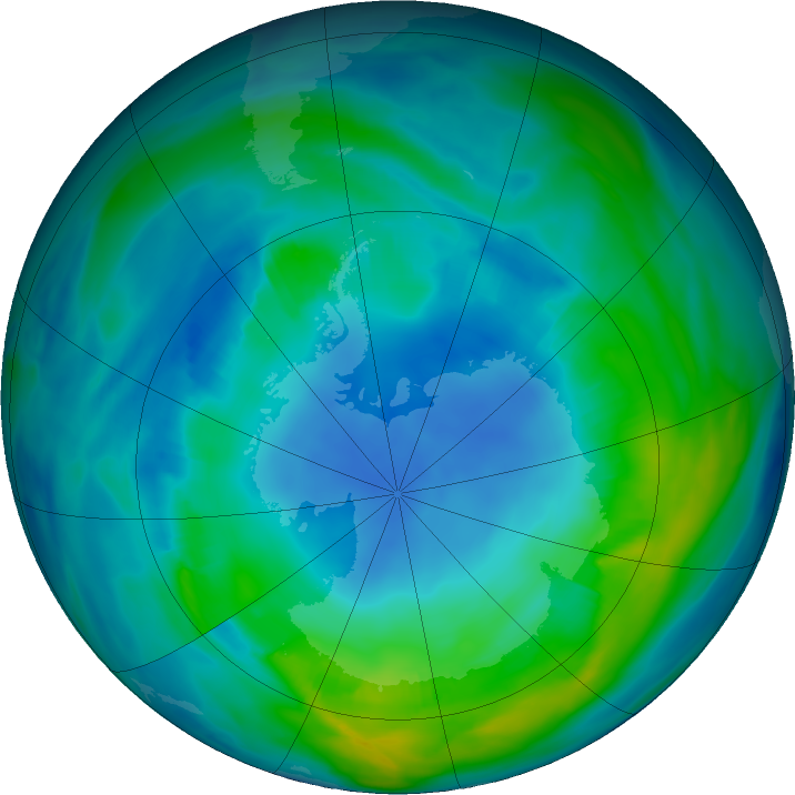 Antarctic ozone map for 03 May 2018