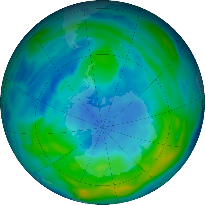 Antarctic ozone map for 04 May 2018