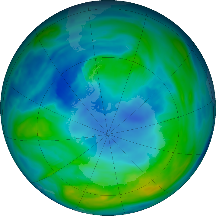 Antarctic ozone map for 05 May 2018