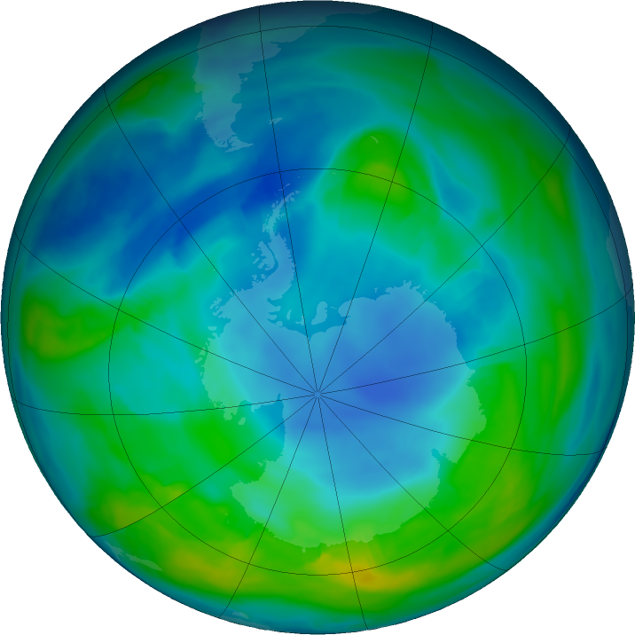 Antarctic ozone map for 06 May 2018