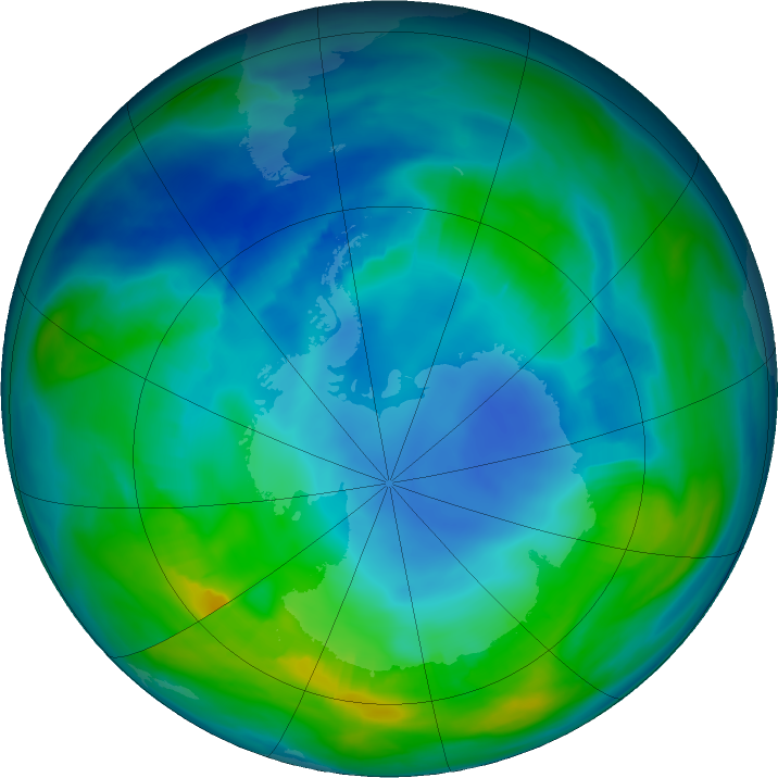 Antarctic ozone map for 07 May 2018