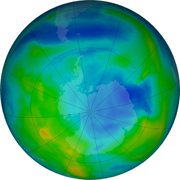 Antarctic ozone map for 09 May 2018
