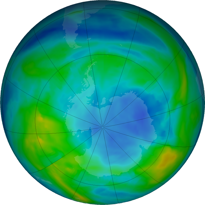 Antarctic ozone map for 10 May 2018