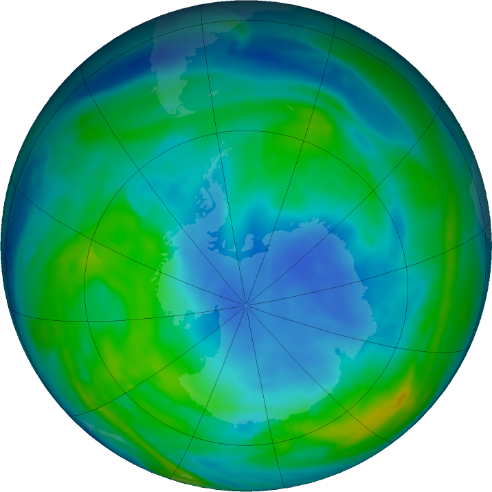 Antarctic ozone map for 11 May 2018