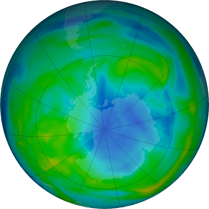 Antarctic ozone map for 12 May 2018