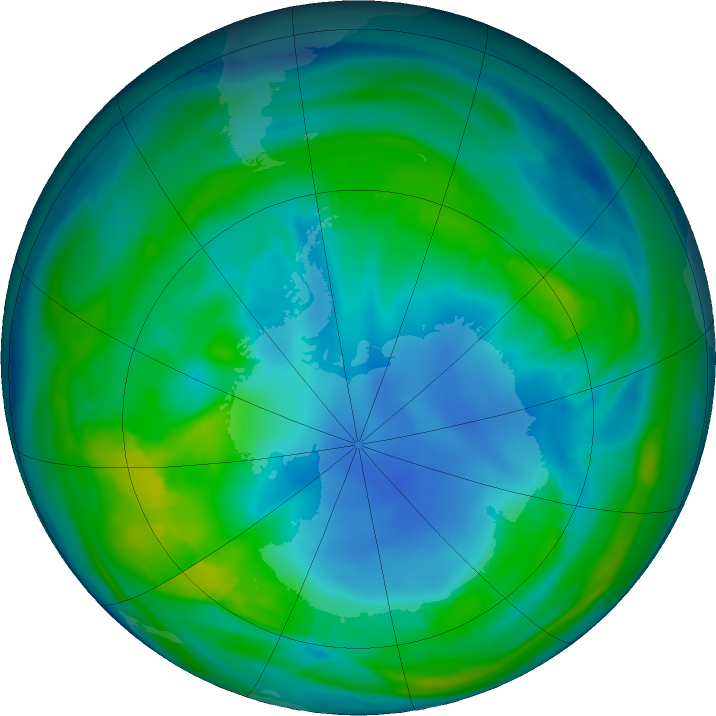 Antarctic ozone map for 13 May 2018