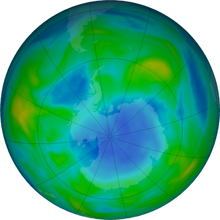 Antarctic ozone map for 15 May 2018