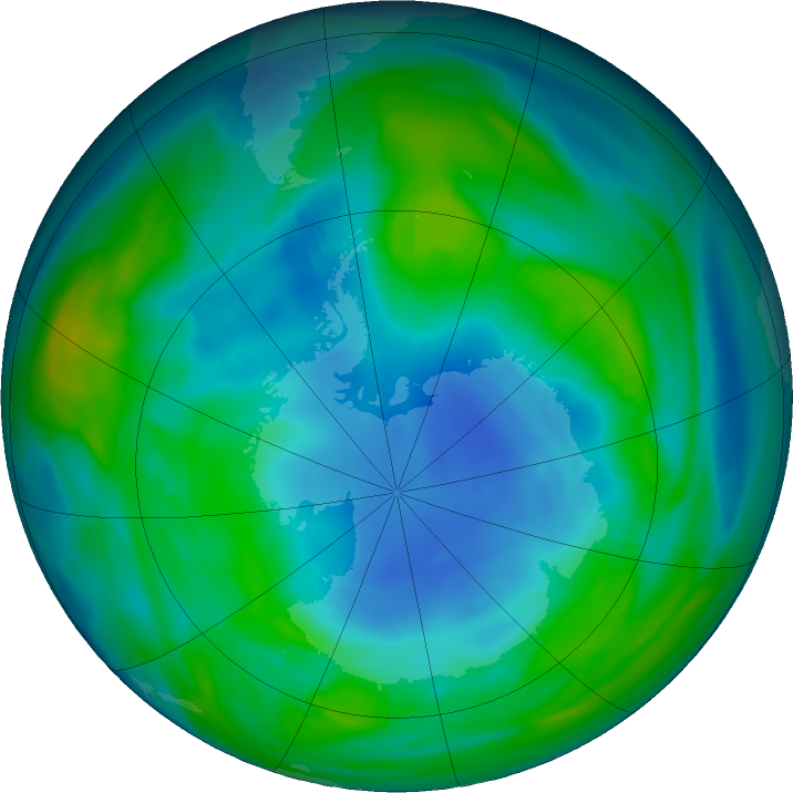 Antarctic ozone map for 16 May 2018