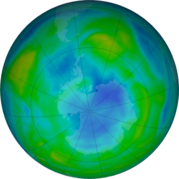 Antarctic ozone map for 17 May 2018