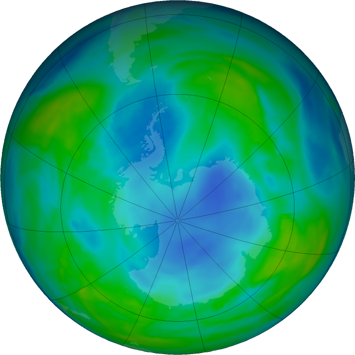 Antarctic ozone map for 18 May 2018