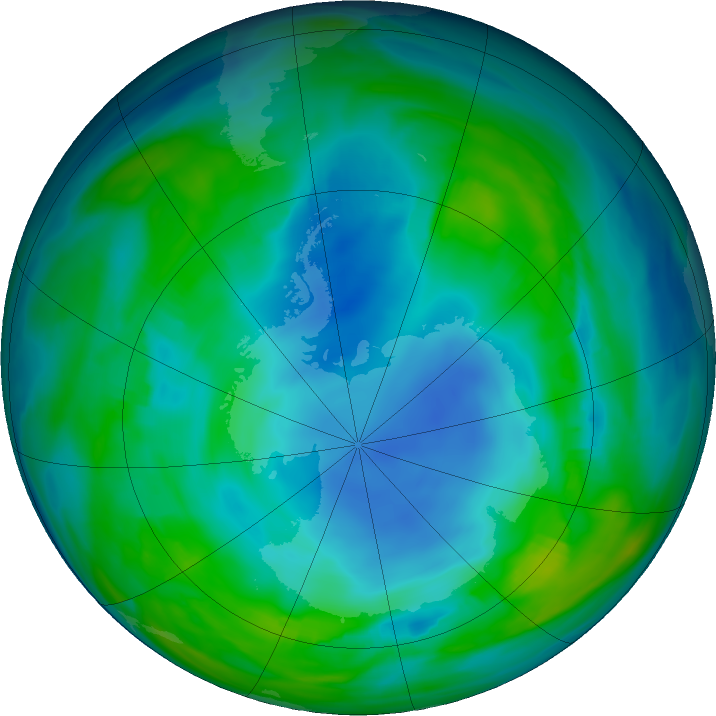 Antarctic ozone map for 19 May 2018