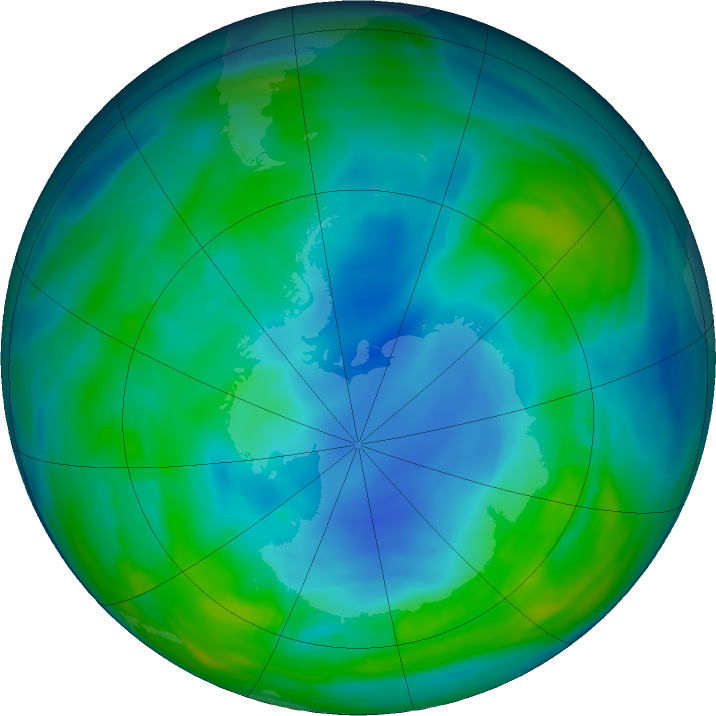 Antarctic ozone map for 20 May 2018
