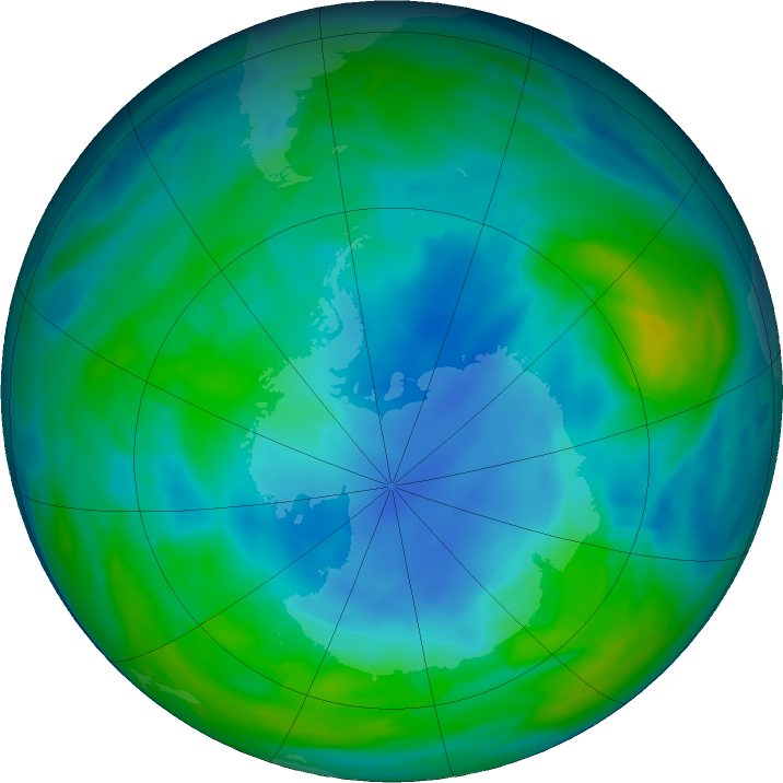 Antarctic ozone map for 21 May 2018