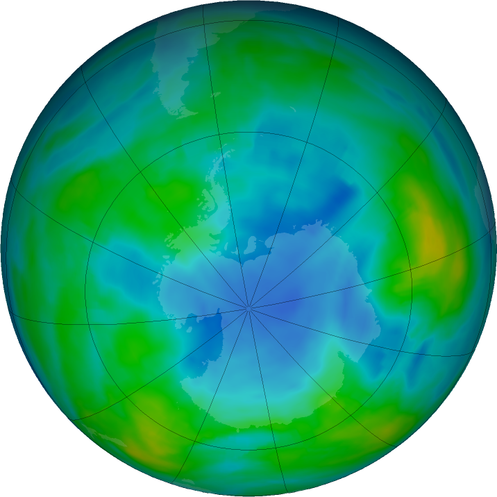 Antarctic ozone map for 22 May 2018