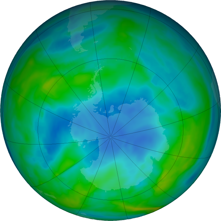 Antarctic ozone map for 24 May 2018