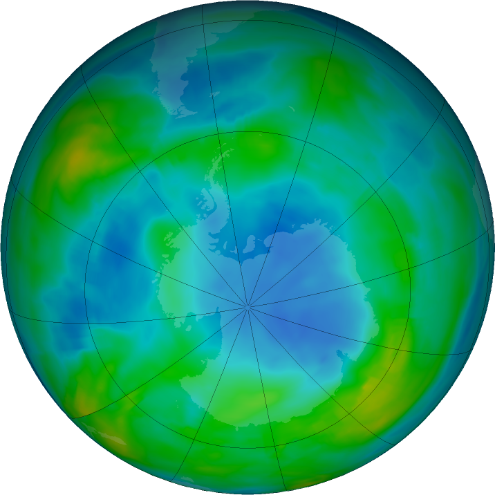Antarctic ozone map for 25 May 2018