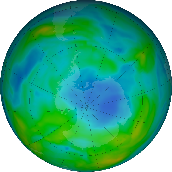 Antarctic ozone map for 27 May 2018