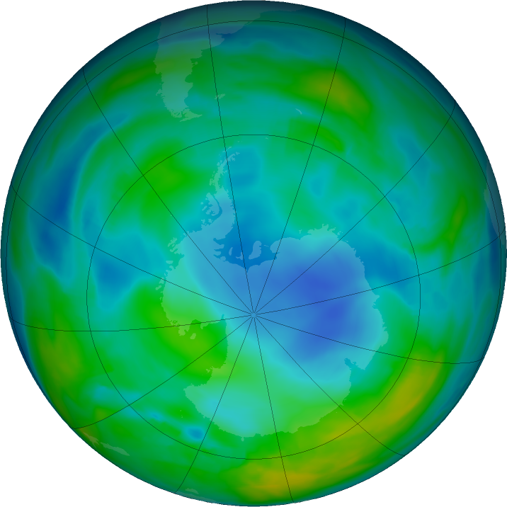Antarctic ozone map for 28 May 2018