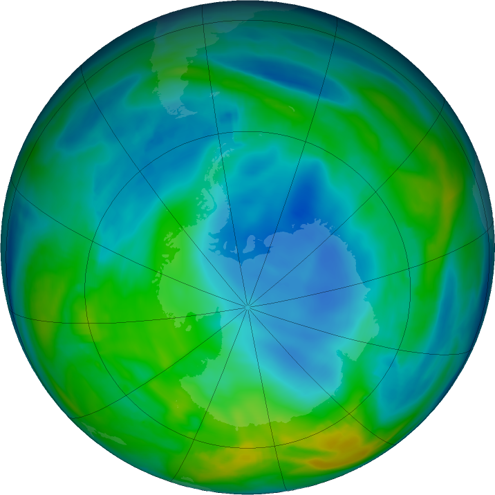 Antarctic ozone map for 30 May 2018
