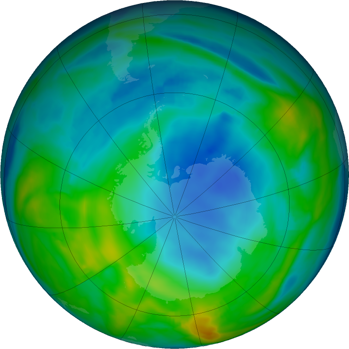 Antarctic ozone map for 31 May 2018