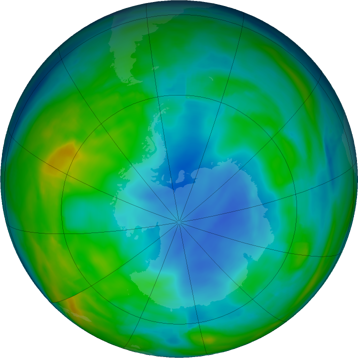Antarctic ozone map for 06 June 2018