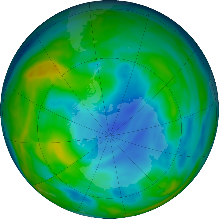 Antarctic ozone map for 07 June 2018
