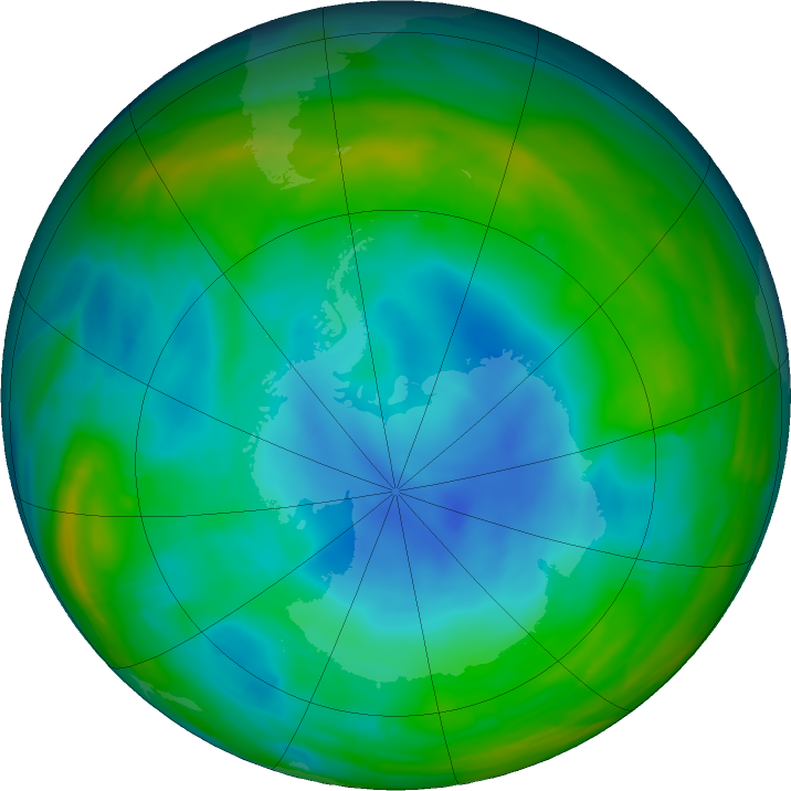 Antarctic ozone map for 29 June 2018
