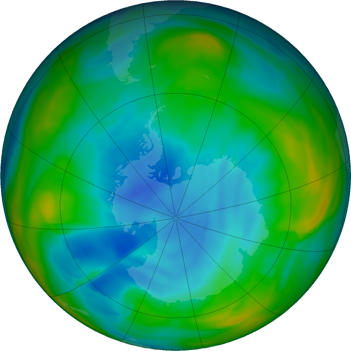 Antarctic ozone map for 03 July 2018