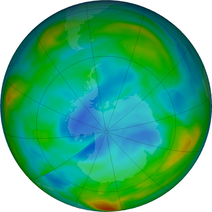 Antarctic ozone map for 05 July 2018