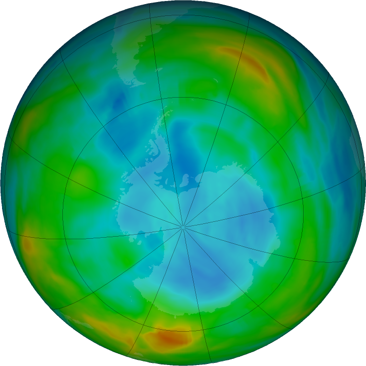 Antarctic ozone map for 07 July 2018
