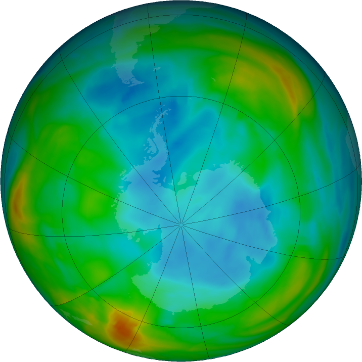 Antarctic ozone map for 08 July 2018