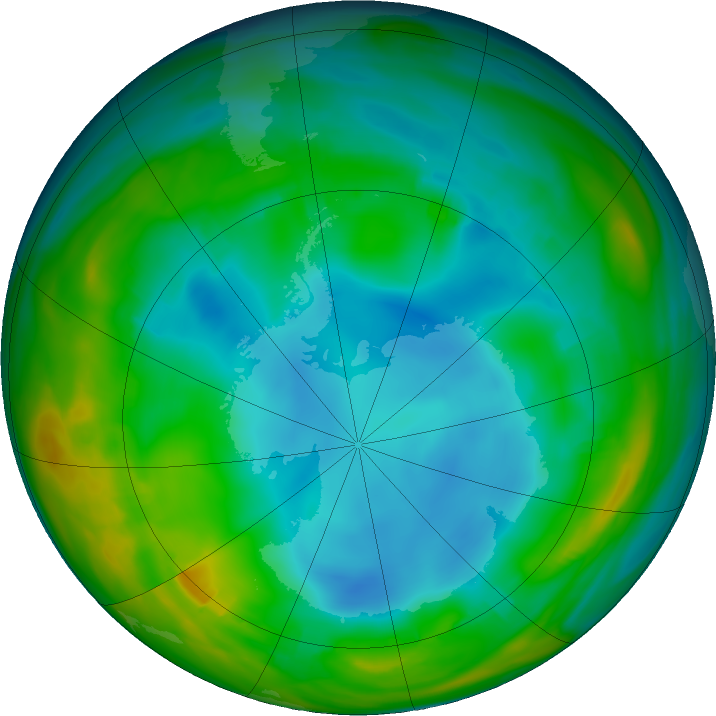 Antarctic ozone map for 11 July 2018