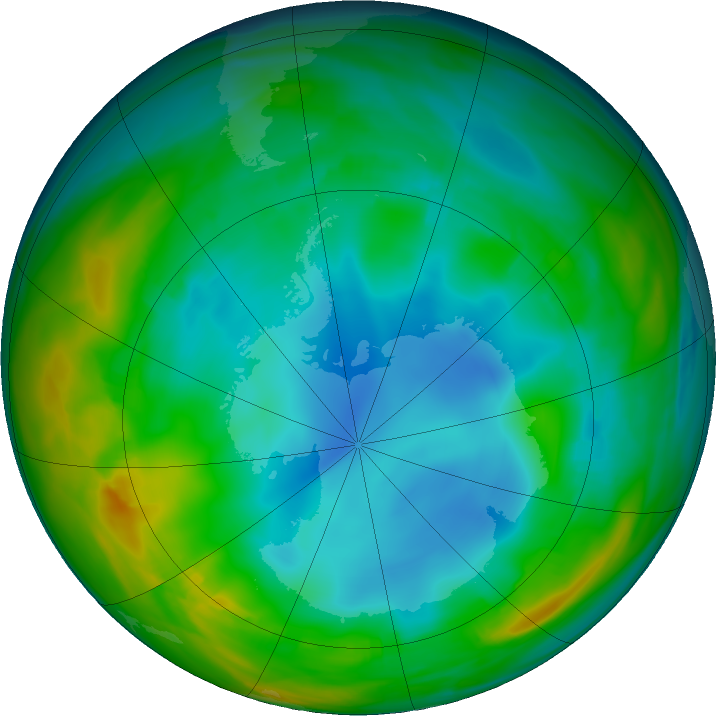 Antarctic ozone map for 12 July 2018