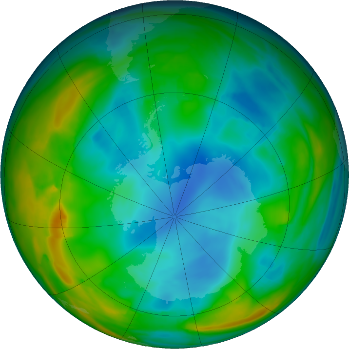 Antarctic ozone map for 13 July 2018