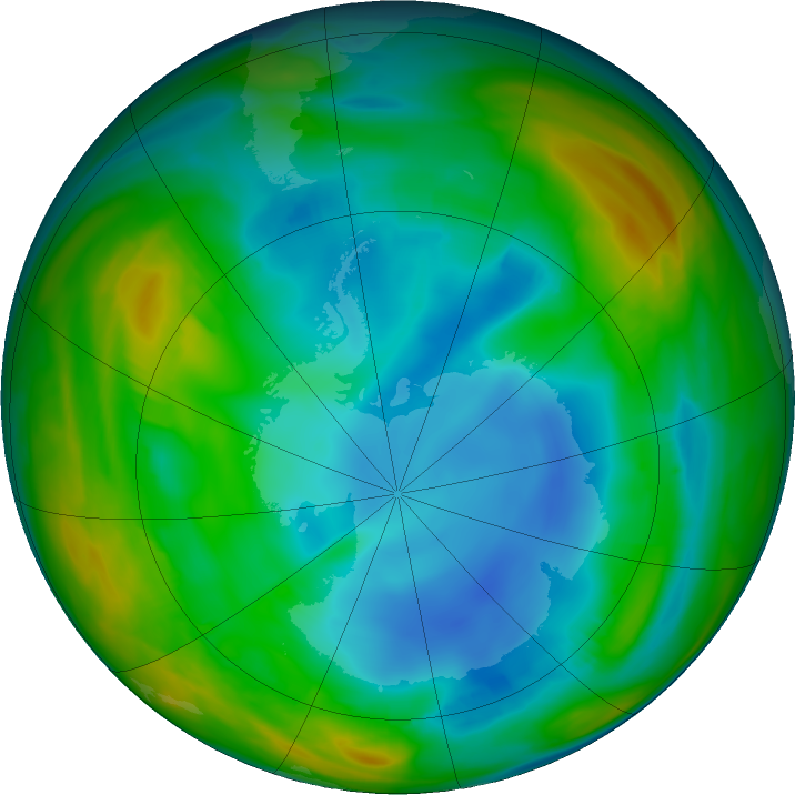 Antarctic ozone map for 19 July 2018