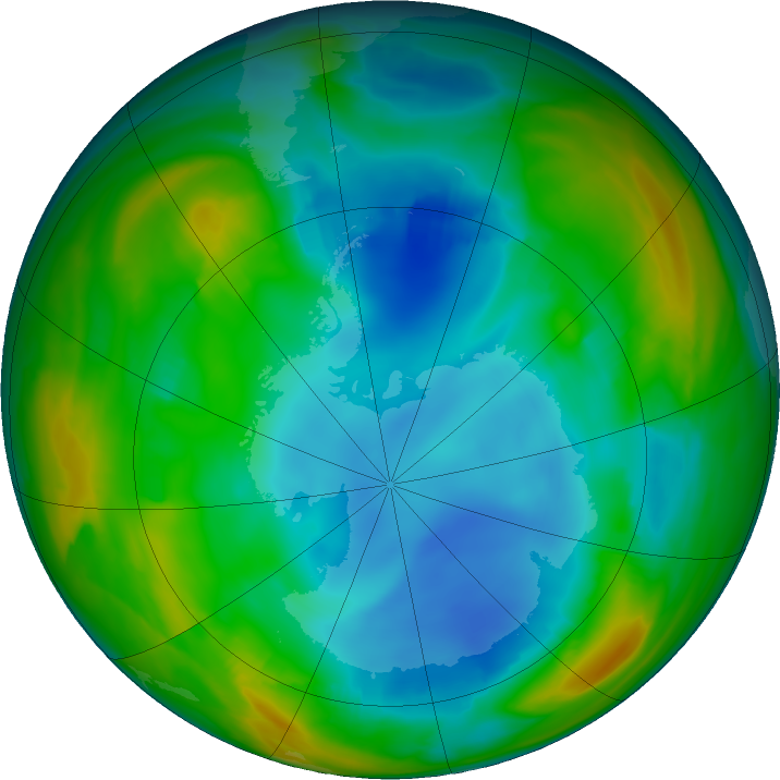Antarctic ozone map for 20 July 2018
