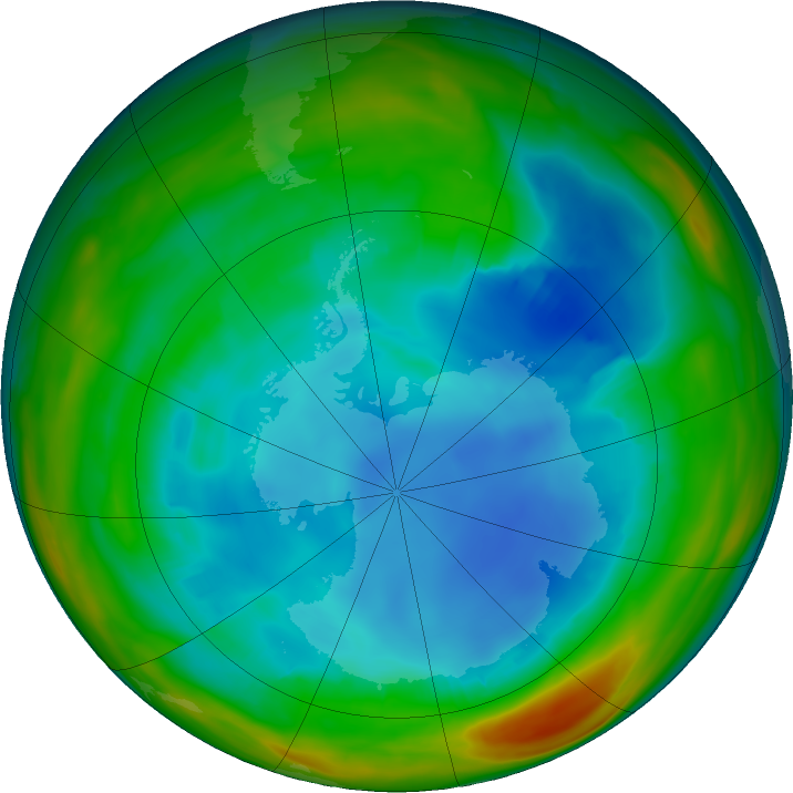 Antarctic ozone map for 31 July 2018