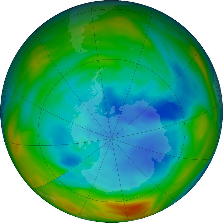 Antarctic ozone map for 01 August 2018