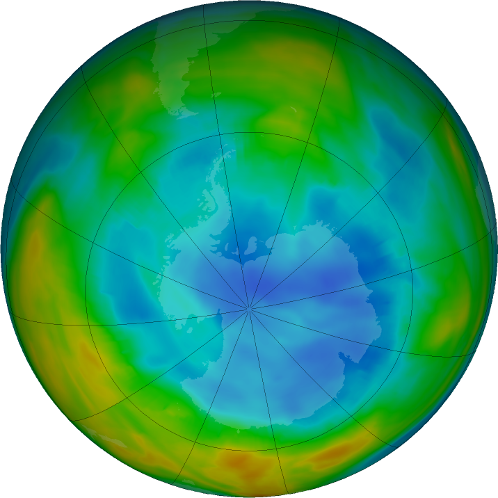 Antarctic ozone map for 02 August 2018
