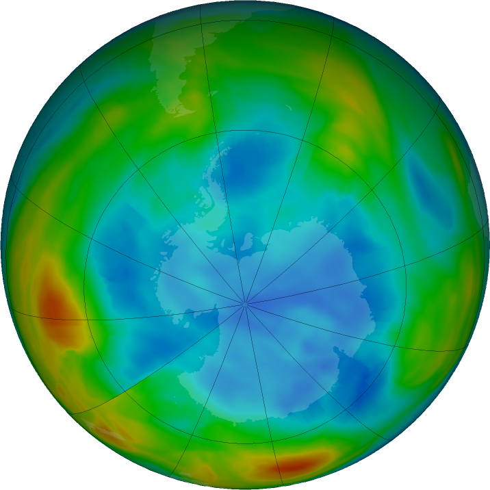 Antarctic ozone map for 03 August 2018