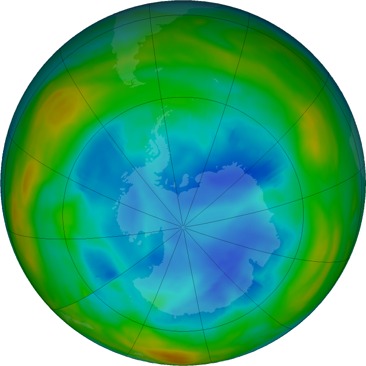 Antarctic ozone map for 05 August 2018