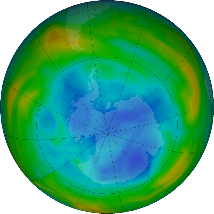 Antarctic ozone map for 06 August 2018