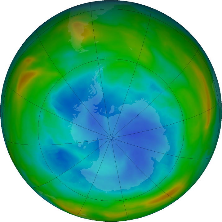 Antarctic ozone map for 07 August 2018