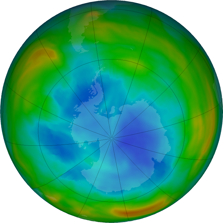 Antarctic ozone map for 08 August 2018