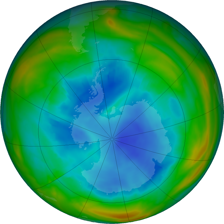 Antarctic ozone map for 09 August 2018
