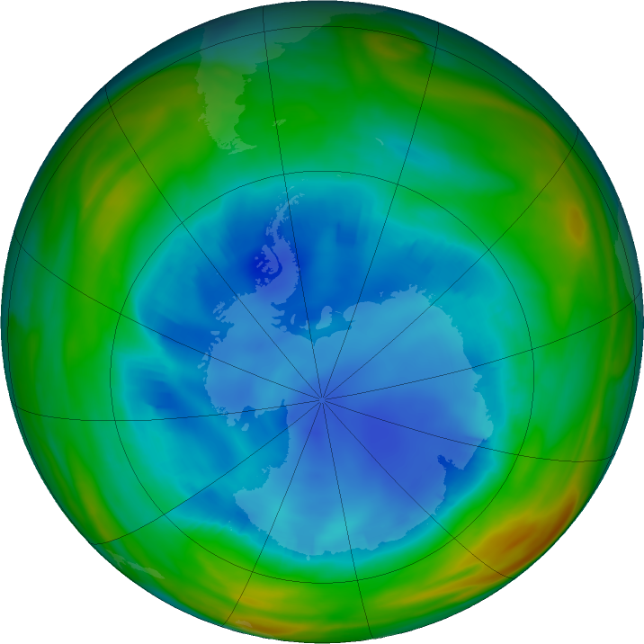 Antarctic ozone map for 11 August 2018