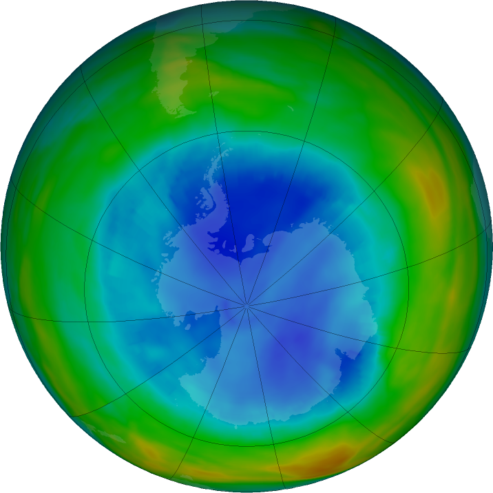 Antarctic ozone map for 13 August 2018