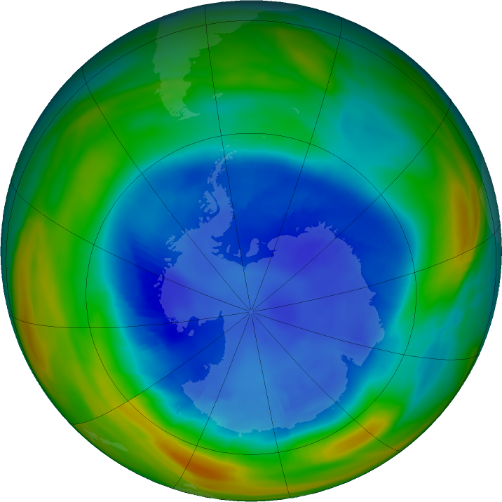 Antarctic ozone map for 26 August 2018